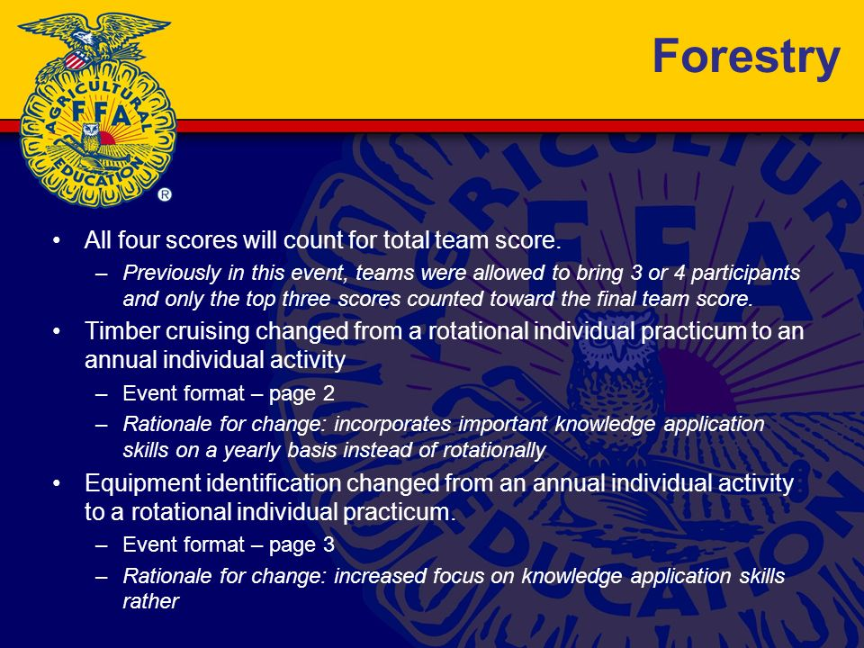Forestry All four scores will count for total team score.