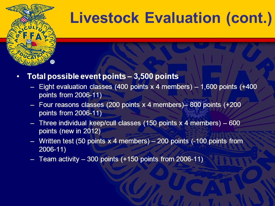 Livestock Evaluation (cont.) Total possible event points – 3,500 points –Eight evaluation classes (400 points x 4 members) – 1,600 points (+400 points from 2006-11) –Four reasons classes (200 points x 4 members)– 800 points (+200 points from 2006-11) –Three individual keep/cull classes (150 points x 4 members) – 600 points (new in 2012) –Written test (50 points x 4 members) – 200 points (-100 points from 2006-11) –Team activity – 300 points (+150 points from 2006-11)