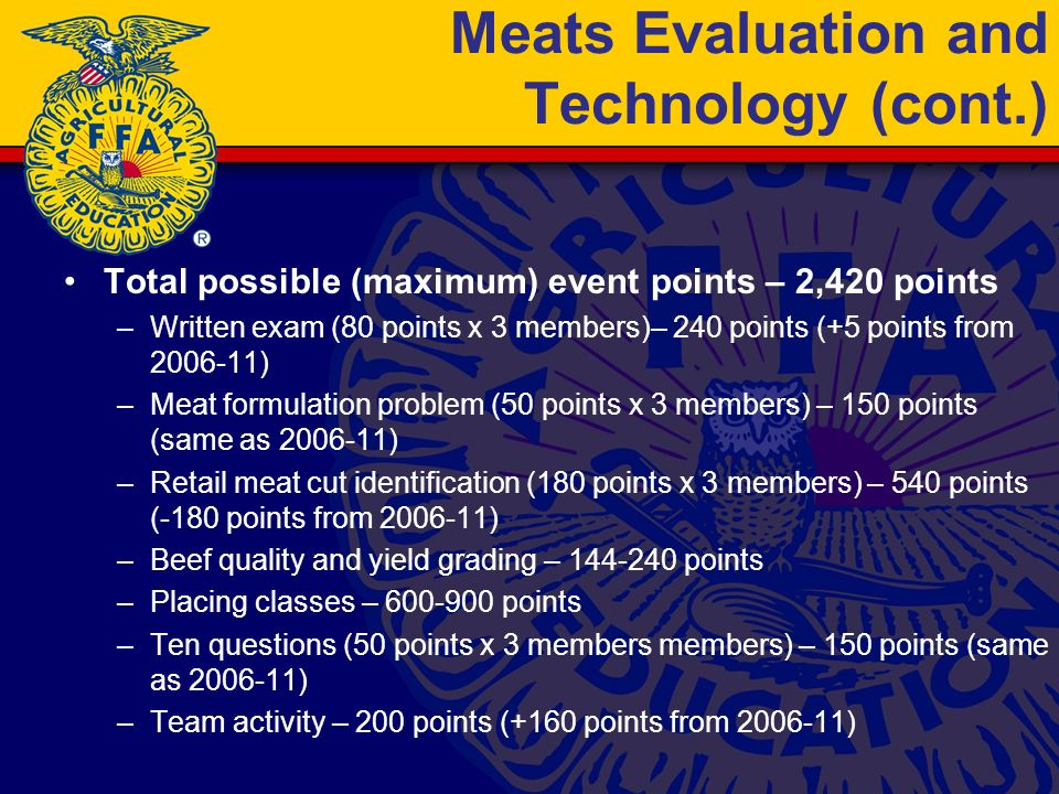 Meats Evaluation and Technology (cont.) Total possible (maximum) event points – 2,420 points –Written exam (80 points x 3 members)– 240 points (+5 points from 2006-11) –Meat formulation problem (50 points x 3 members) – 150 points (same as 2006-11) –Retail meat cut identification (180 points x 3 members) – 540 points (-180 points from 2006-11) –Beef quality and yield grading – 144-240 points –Placing classes – 600-900 points –Ten questions (50 points x 3 members members) – 150 points (same as 2006-11) –Team activity – 200 points (+160 points from 2006-11)