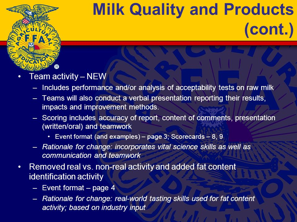 Milk Quality and Products (cont.) Team activity – NEW –Includes performance and/or analysis of acceptability tests on raw milk –Teams will also conduct a verbal presentation reporting their results, impacts and improvement methods.