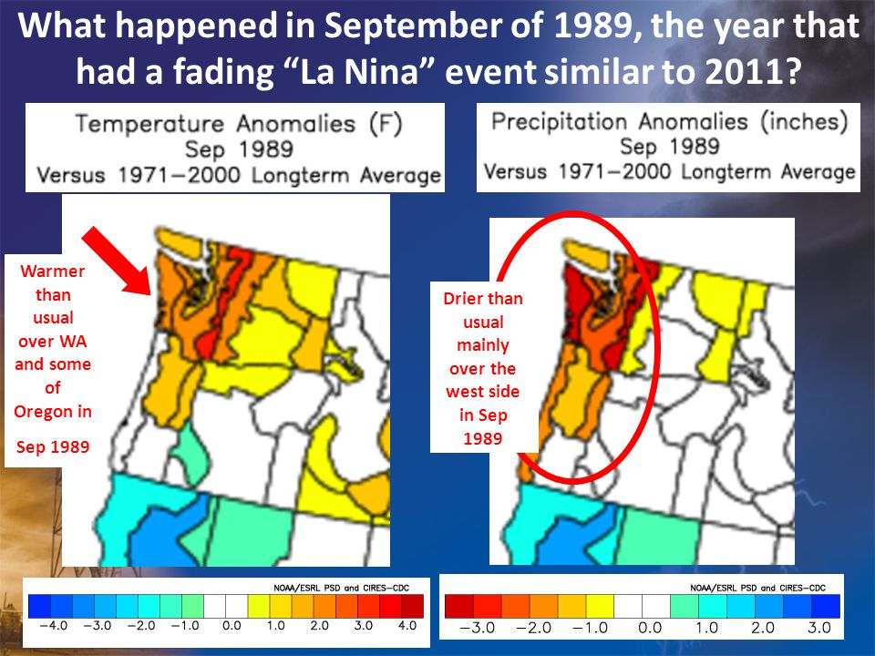 What happened in September of 1989, the year that had a fading La Nina event similar to 2011? Drier than usual mainly over the west side in Sep 1989 W