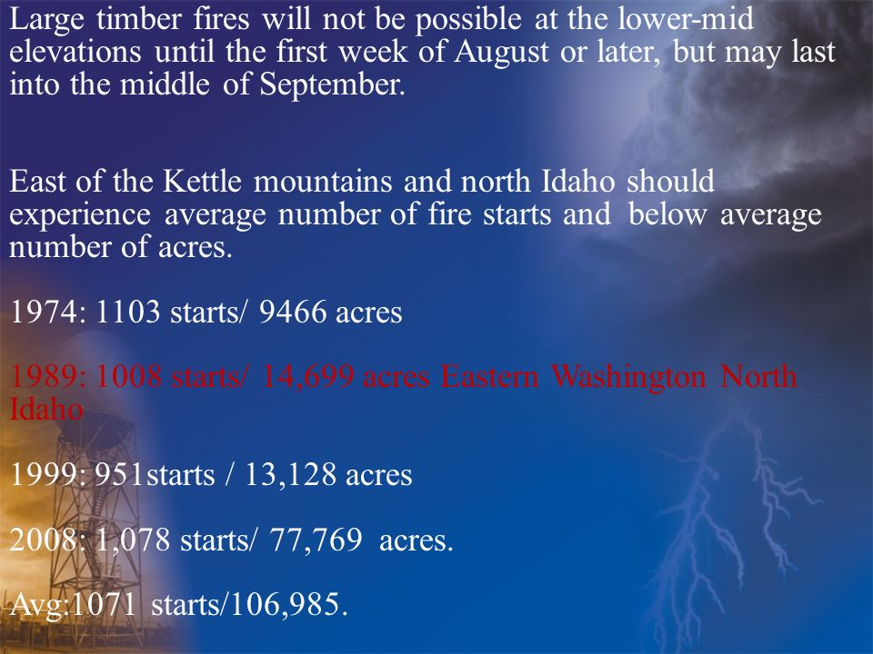 Large timber fires will not be possible at the lower-mid elevations until the first week of August or later, but may last into the middle of September