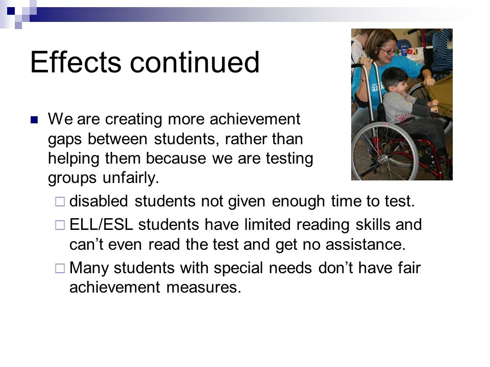 What are the effects? Emotional effects Students struggle with testing and its results and they question their own capabilities to learn. They lose co