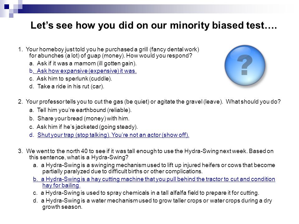 Discussion Question: What evidence of test bias against minorities do you see in schools today?