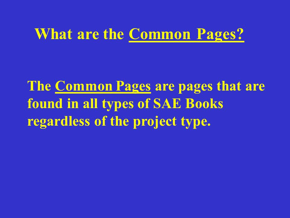 What are the Common Pages.