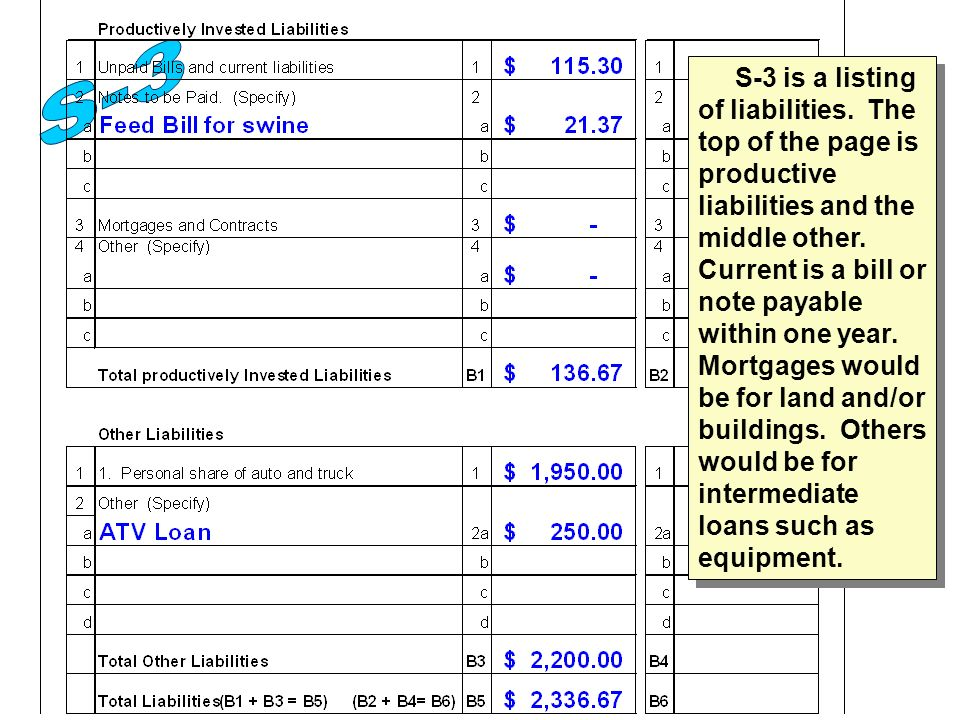 S-3 is a listing of liabilities.