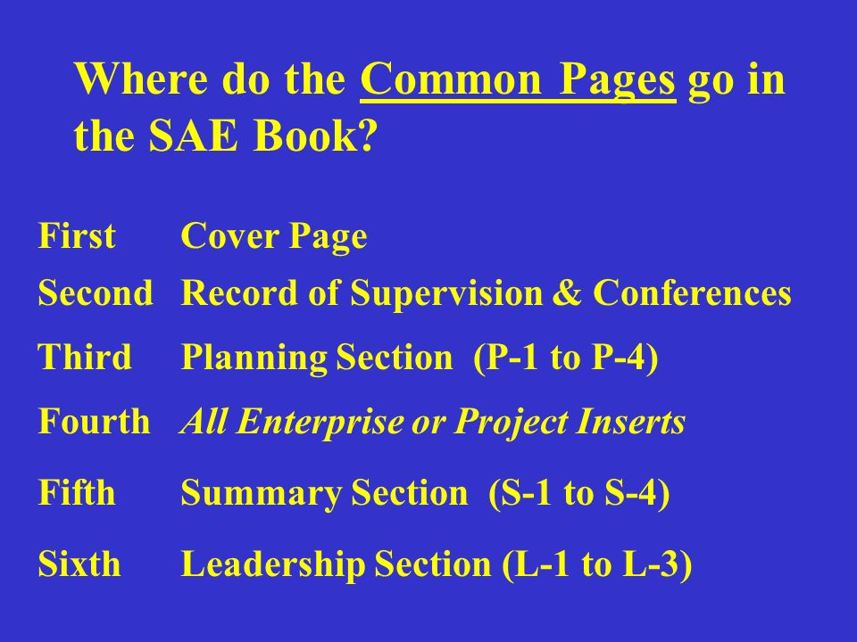 Where do the Common Pages go in the SAE Book.