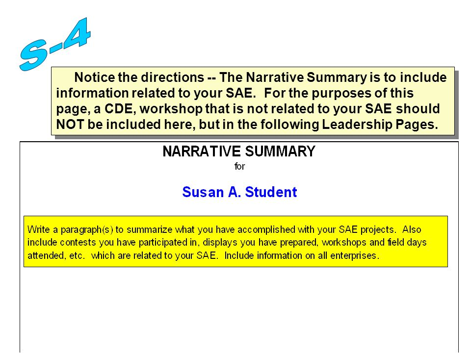 Notice the directions -- The Narrative Summary is to include information related to your SAE.