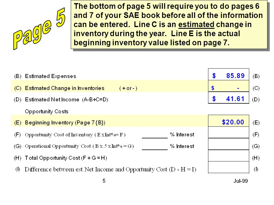The bottom of page 5 will require you to do pages 6 and 7 of your SAE book before all of the information can be entered.
