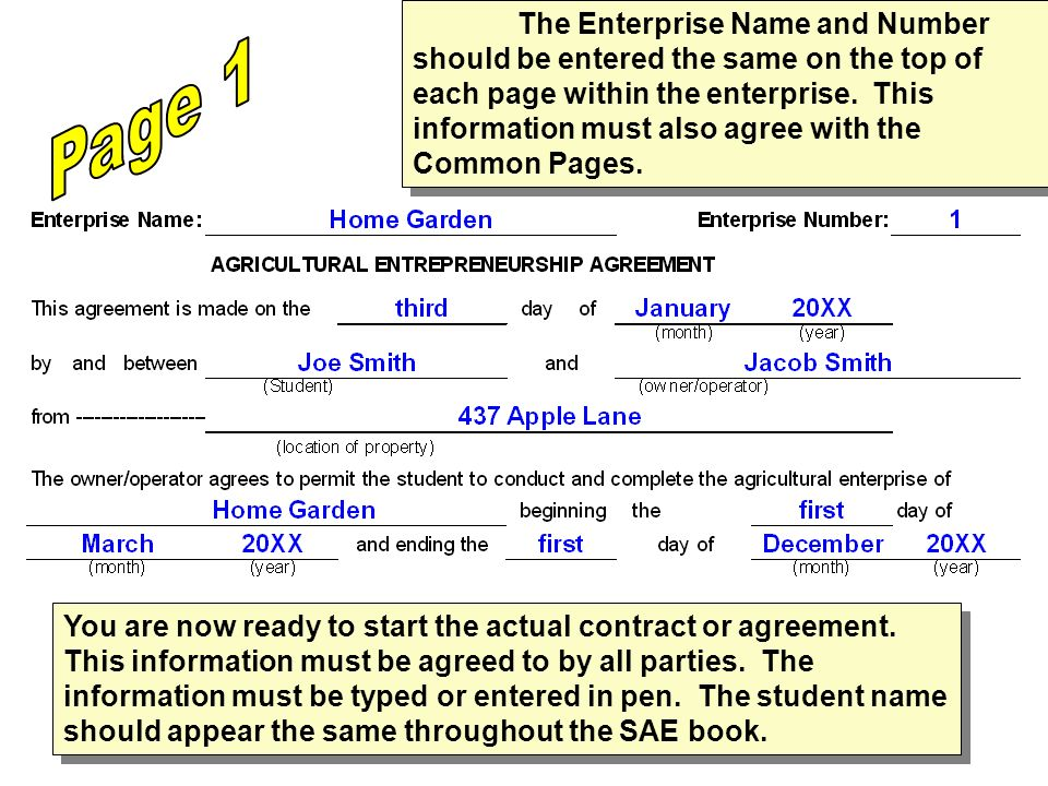 The Enterprise Name and Number should be entered the same on the top of each page within the enterprise.