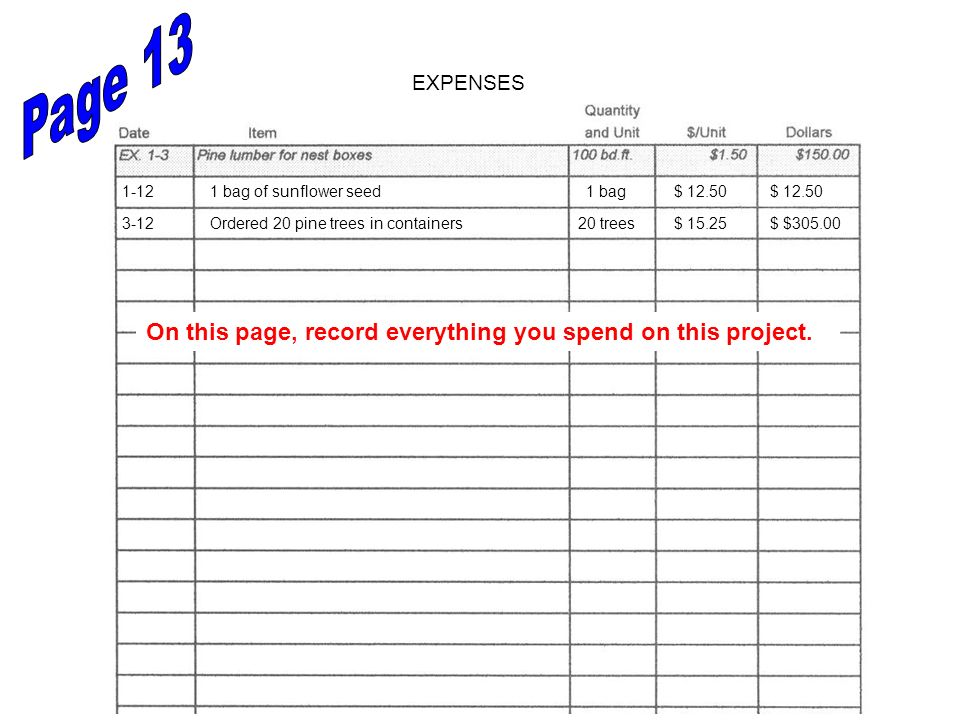 EXPENSES On this page, record everything you spend on this project. 1-121 bag of sunflower seed1 bag$ 12.50 3-12Ordered 20 pine trees in containers20