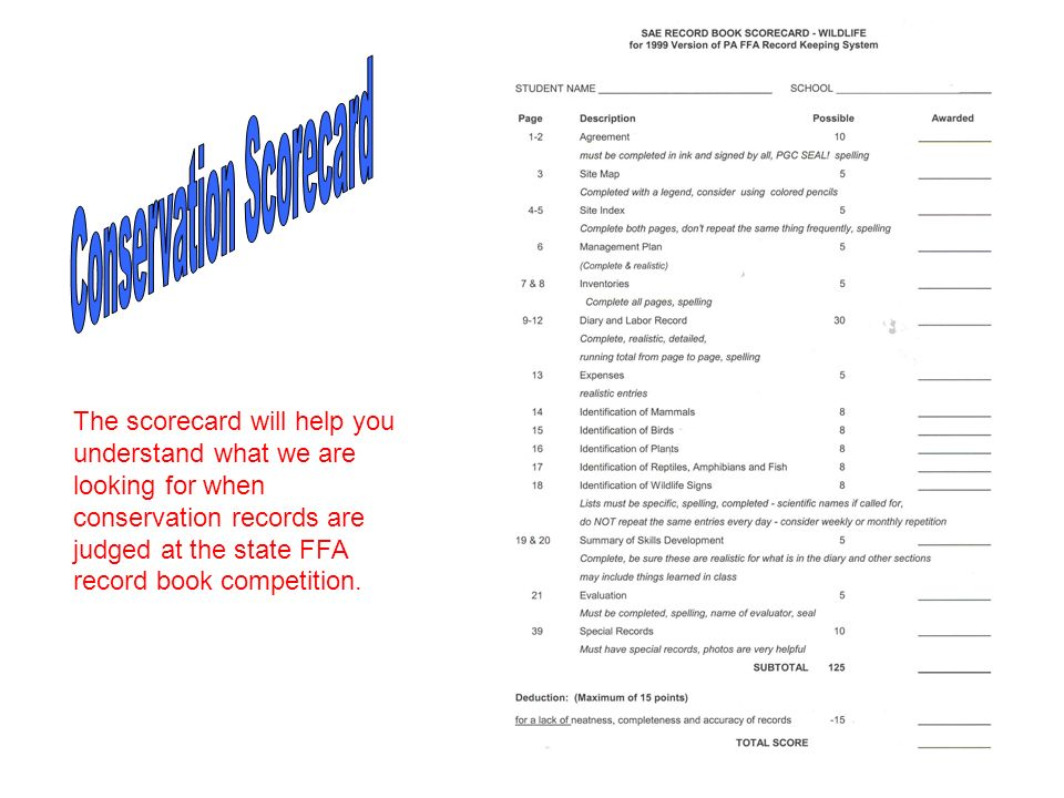 The scorecard will help you understand what we are looking for when conservation records are judged at the state FFA record book competition.