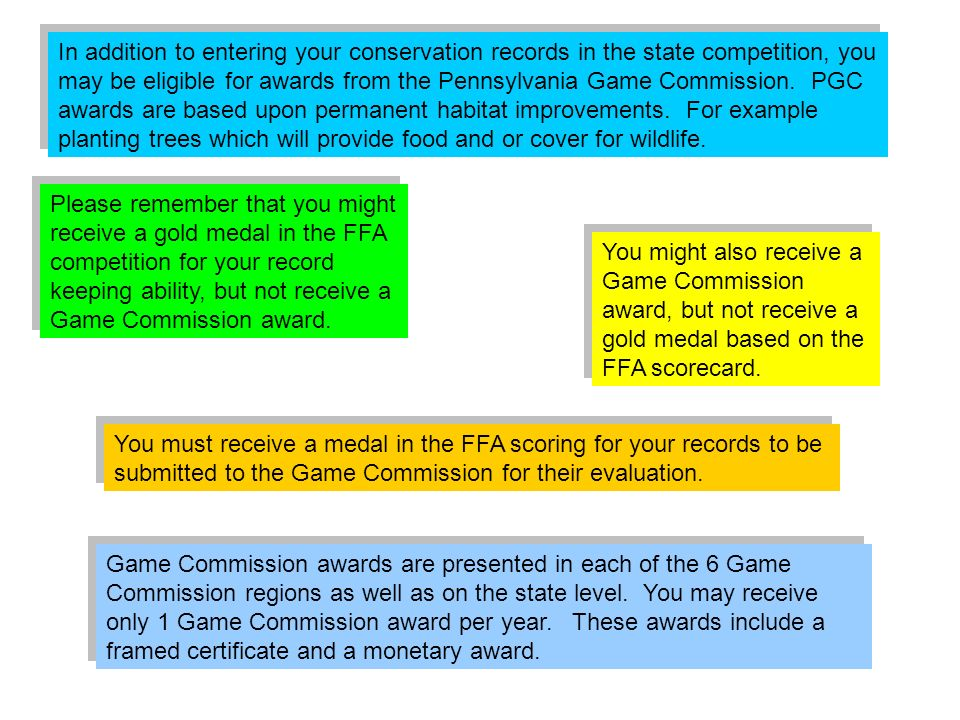 In addition to entering your conservation records in the state competition, you may be eligible for awards from the Pennsylvania Game Commission. PGC