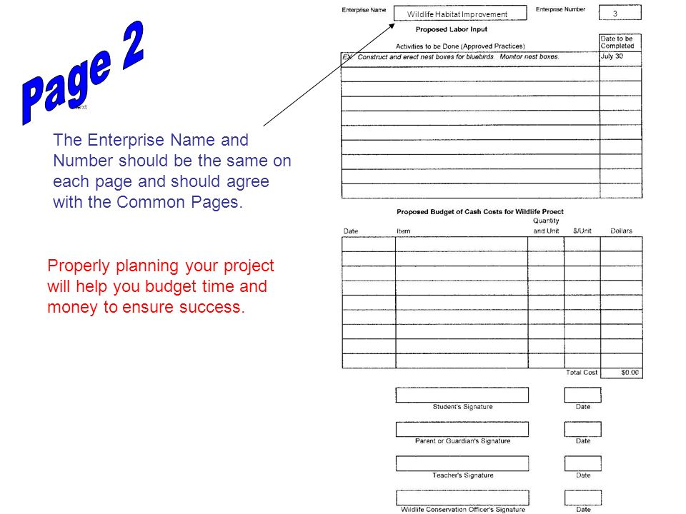 At the beginning of the project year, make a list of items you own which will be used to carry out this project.