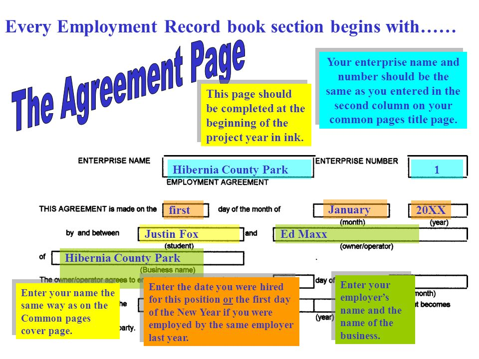 Every Employment Record book section begins with…… Hibernia County Park1 firstname Hibernia County Park firstMay 20XX31st December 20XX In most cases the beginning dates will agree with the dates at the top of the page.