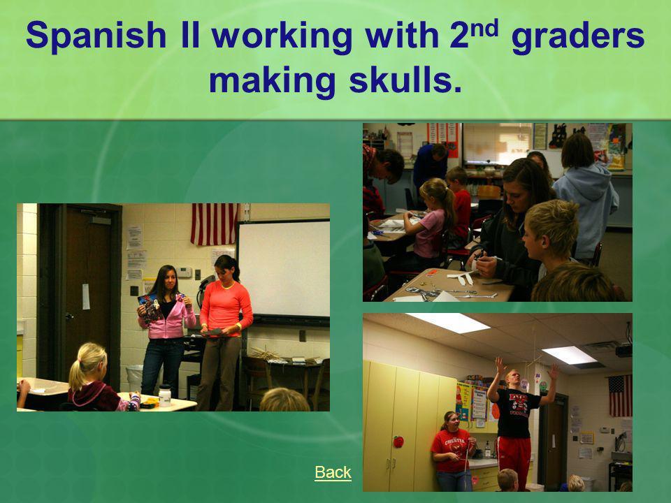 Spanish II working with 2 nd graders making skulls. Back