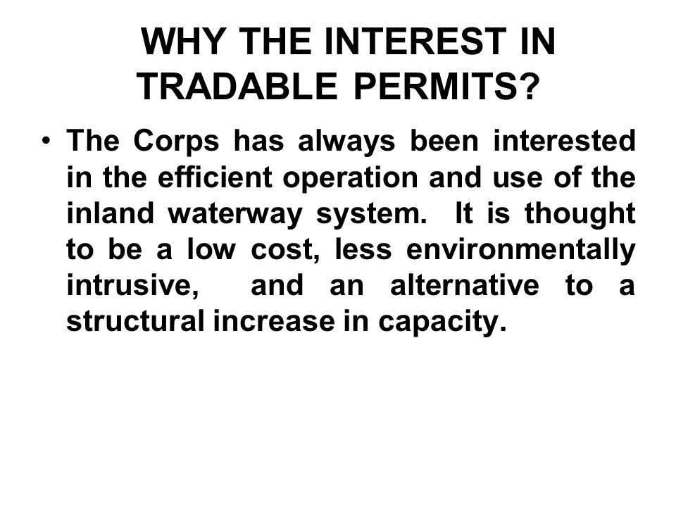 WHY THE INTEREST IN TRADABLE PERMITS.