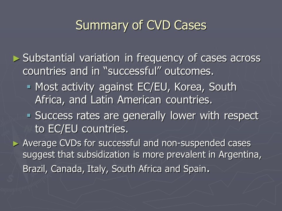Summary of CVD Cases Substantial variation in frequency of cases across countries and in successful outcomes.