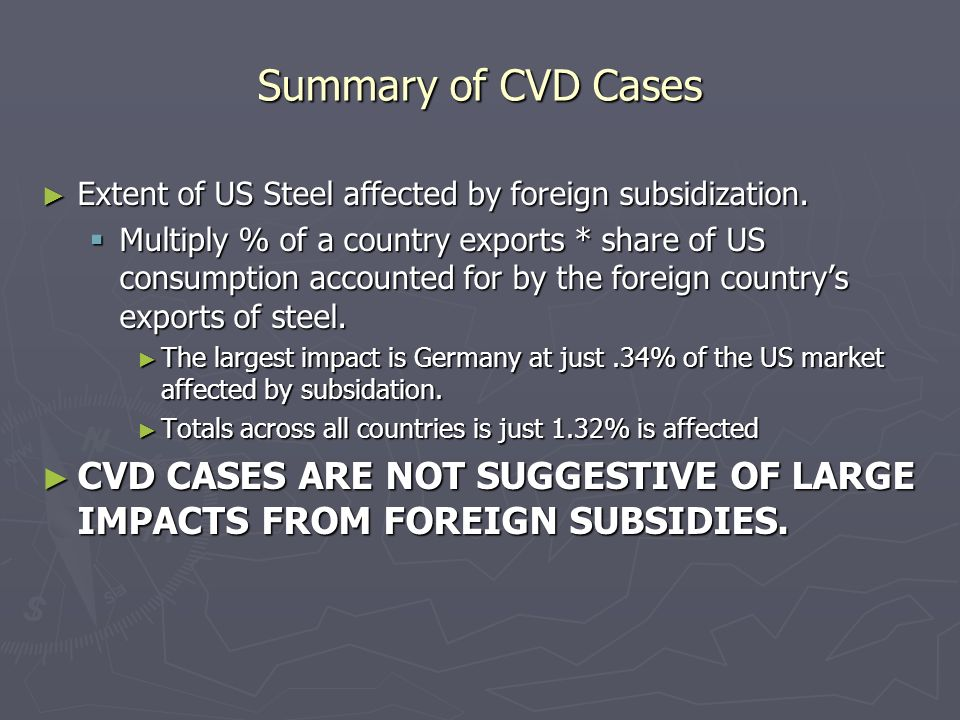 Summary of CVD Cases Extent of US Steel affected by foreign subsidization.