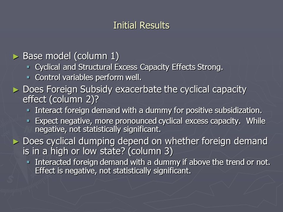 Initial Results Base model (column 1) Base model (column 1) Cyclical and Structural Excess Capacity Effects Strong.