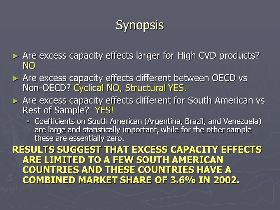 Synopsis Are excess capacity effects larger for High CVD products.