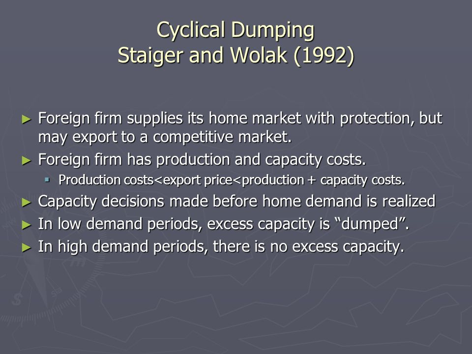 Structural Excess Capacity We modify a simple version of Staiger and Wolak to allow for the effects of foreign subsidization, and demonstrate that subsidization lead to excess capacity.
