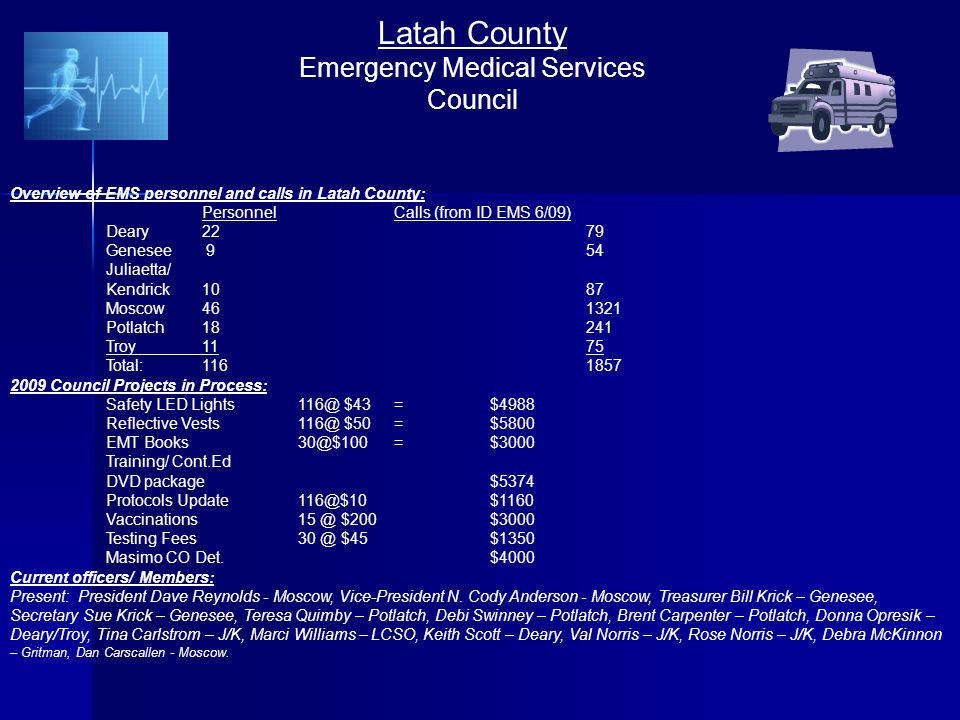 Latah County Emergency Medical Services Council Overview of EMS personnel and calls in Latah County: PersonnelCalls (from ID EMS 6/09) Deary2279 Genesee 954 Juliaetta/ Kendrick1087 Moscow Potlatch18241 Troy1175 Total: Council Projects in Process: Safety LED $43 =$4988 Reflective $50=$5800 EMT Training/ Cont.Ed DVD package$5374 Protocols $200$3000 Testing $45$1350 Masimo CO Det.$4000 Current officers/ Members: Present: President Dave Reynolds - Moscow, Vice-President N.