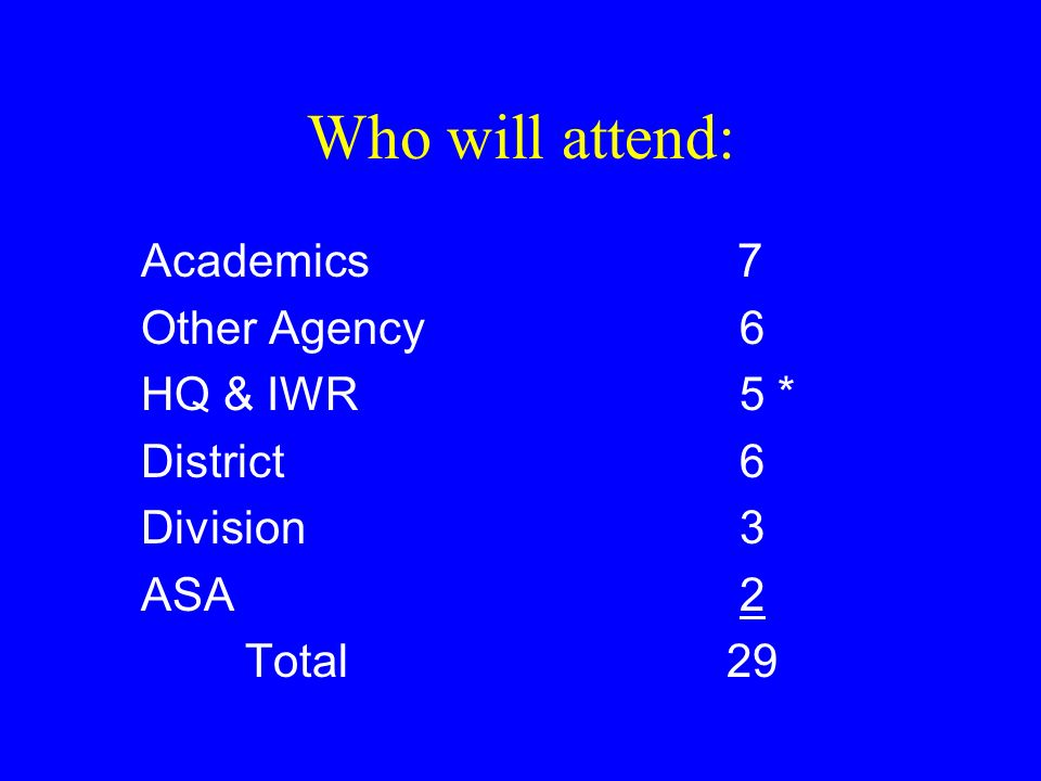 Who will attend: Academics 7 Other Agency 6 HQ & IWR 5 * District 6 Division 3 ASA 2 Total 29