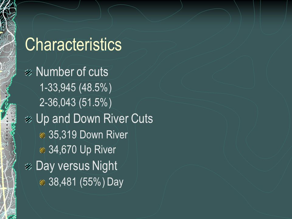Characteristics Number of cuts 1-33,945 (48.5%) 2-36,043 (51.5%) Up and Down River Cuts 35,319 Down River 34,670 Up River Day versus Night 38,481 (55%