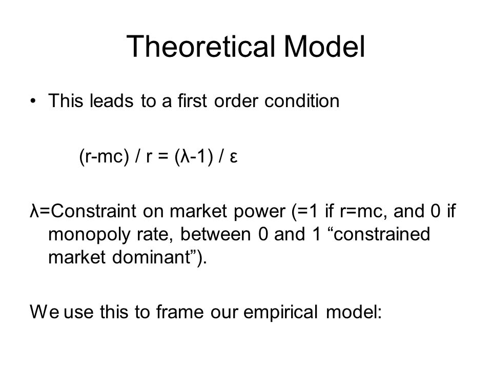 Theoretical Model Directly from the first order conditions, it can be shown that the railroads profit maximizing rate is: Where the markup term is a function of the competitive options available to the shipper.