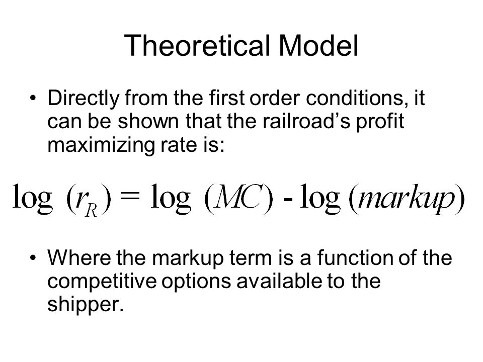 Empirical Model Other markup and elasticity variables include: –For railroad competition we use the inverse of the Herfindahl index for each location –We also note that ethanol plays a role in this market, which is captured by including both: The ethanol capacity of plants within 60 miles of the origin, and A dummy variable equal to 1 for origins with no ethanol within 60 miles: