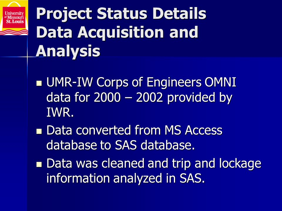 Project Status Details Data Acquisition and Analysis UMR-IW Corps of Engineers OMNI data for 2000 – 2002 provided by IWR.