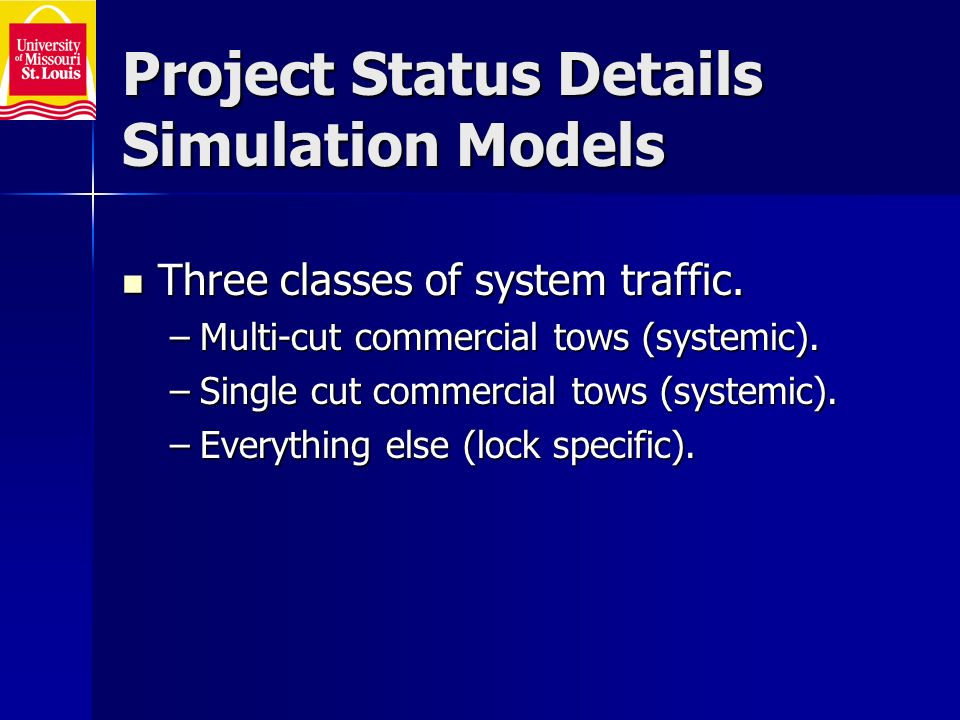 Project Status Details Simulation Models Three classes of system traffic.