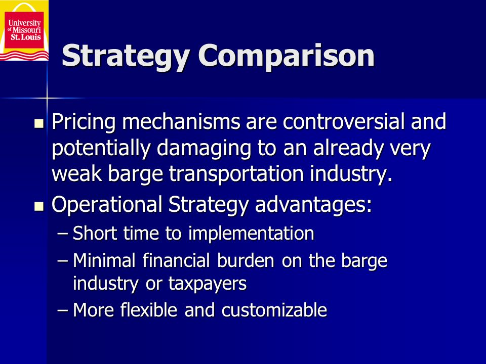 Strategy Comparison Pricing mechanisms are controversial and potentially damaging to an already very weak barge transportation industry.