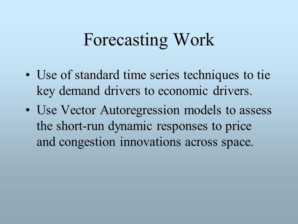 Forecasting Work Use of standard time series techniques to tie key demand drivers to economic drivers.