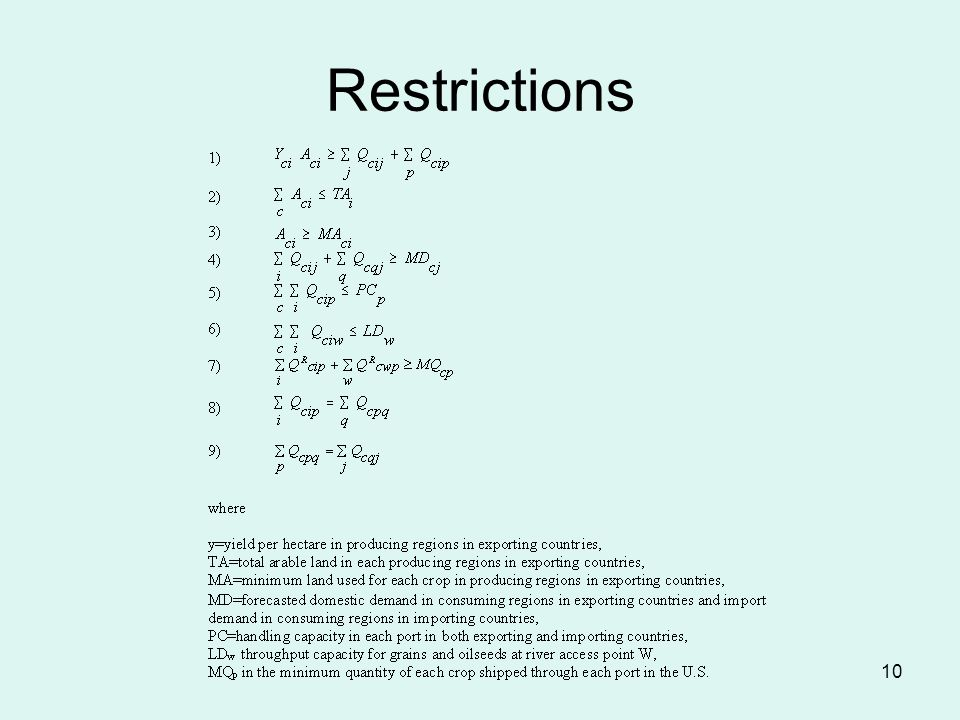 10 Restrictions