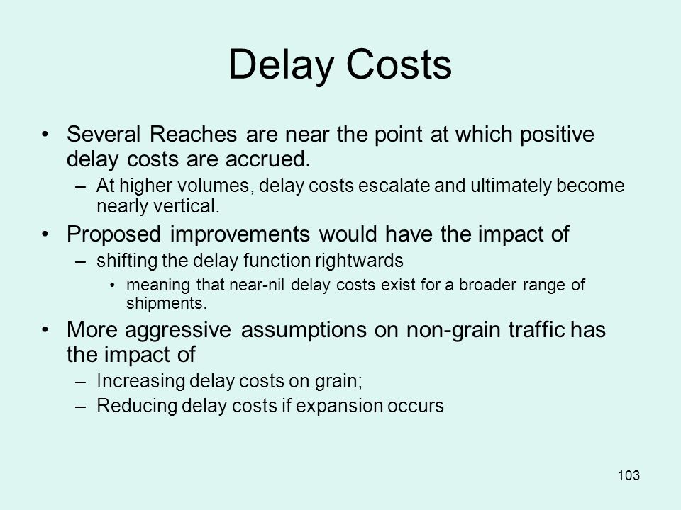 103 Delay Costs Several Reaches are near the point at which positive delay costs are accrued.