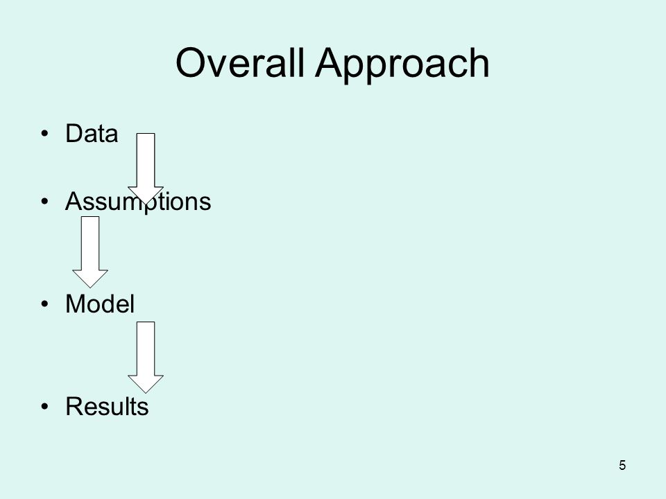 5 Overall Approach Data Assumptions Model Results