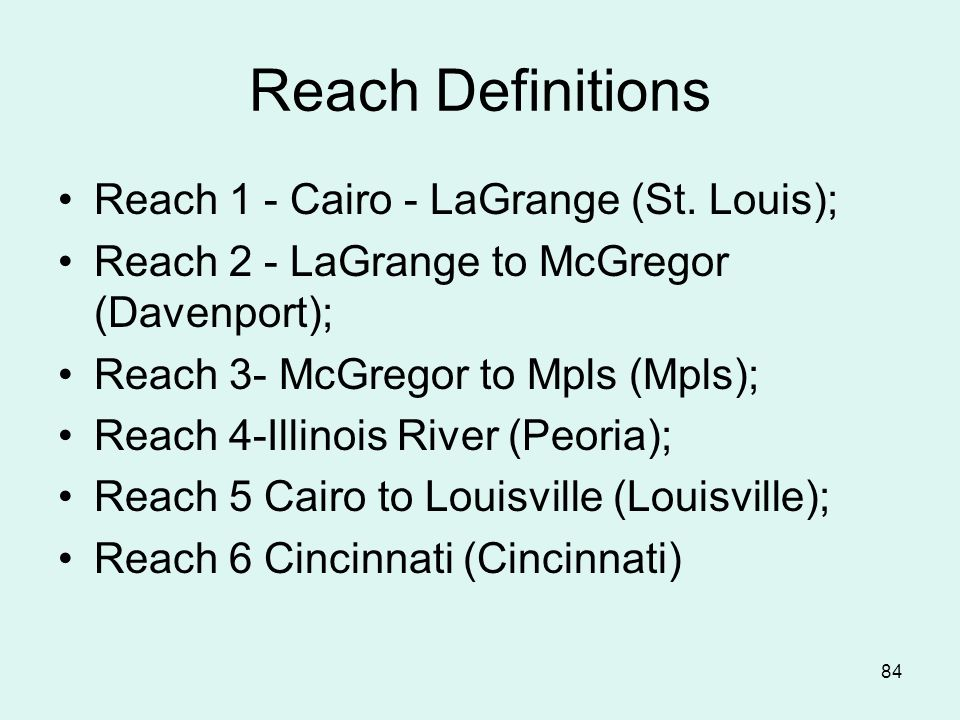 84 Reach Definitions Reach 1 - Cairo - LaGrange (St.