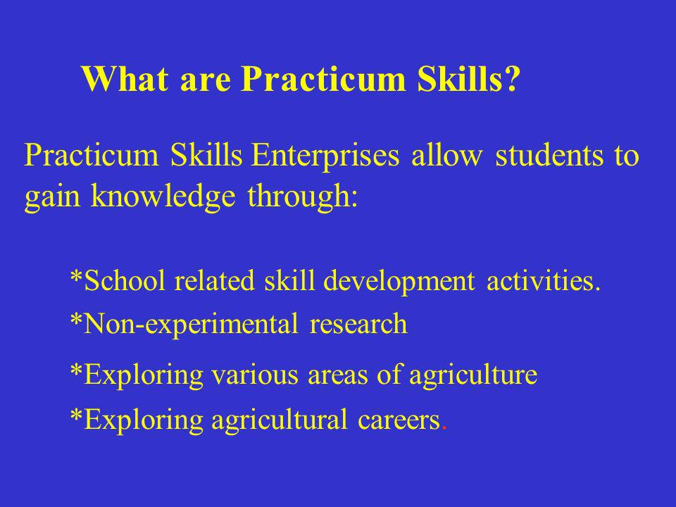 What are Practicum Skills? Practicum Skills Enterprises allow students to gain knowledge through: *School related skill development activities. *Non-e
