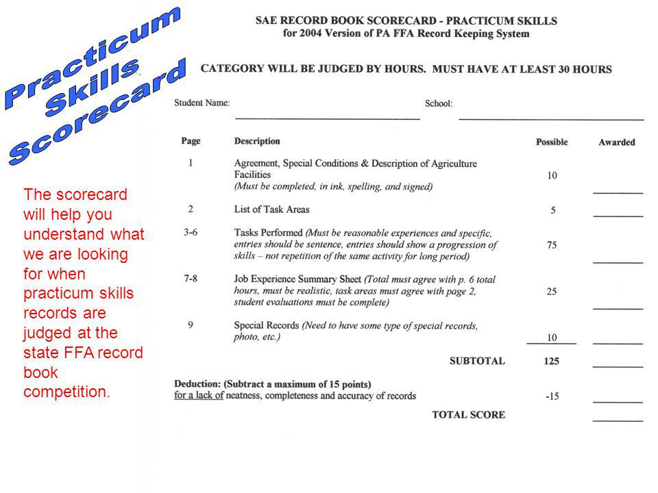 The scorecard will help you understand what we are looking for when practicum skills records are judged at the state FFA record book competition.