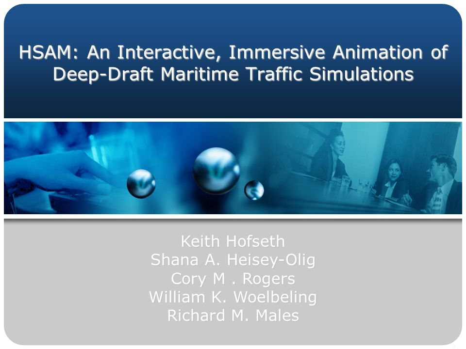 HSAM: An Interactive, Immersive Animation of Deep-Draft Maritime Traffic Simulations Keith Hofseth Shana A.