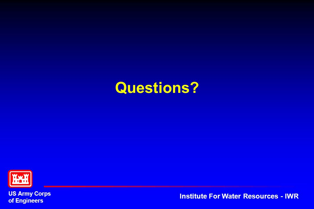 US Army Corps of Engineers Institute For Water Resources - IWR Questions