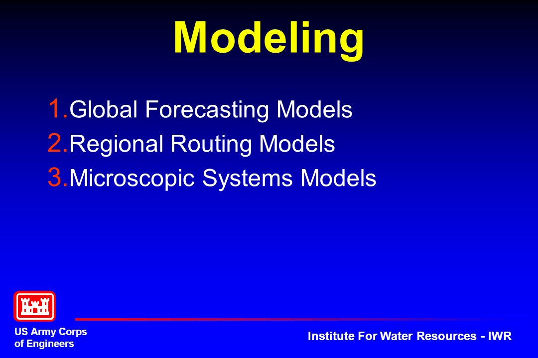 US Army Corps of Engineers Institute For Water Resources - IWR Modeling 1.