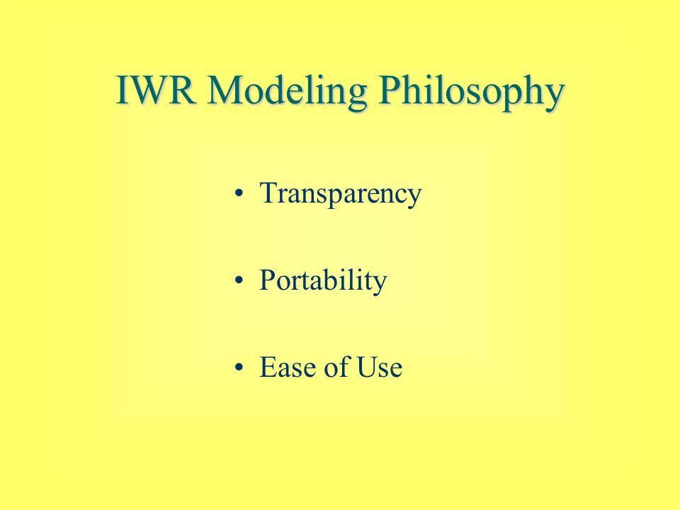 IWR Modeling Philosophy Transparency Portability Ease of Use