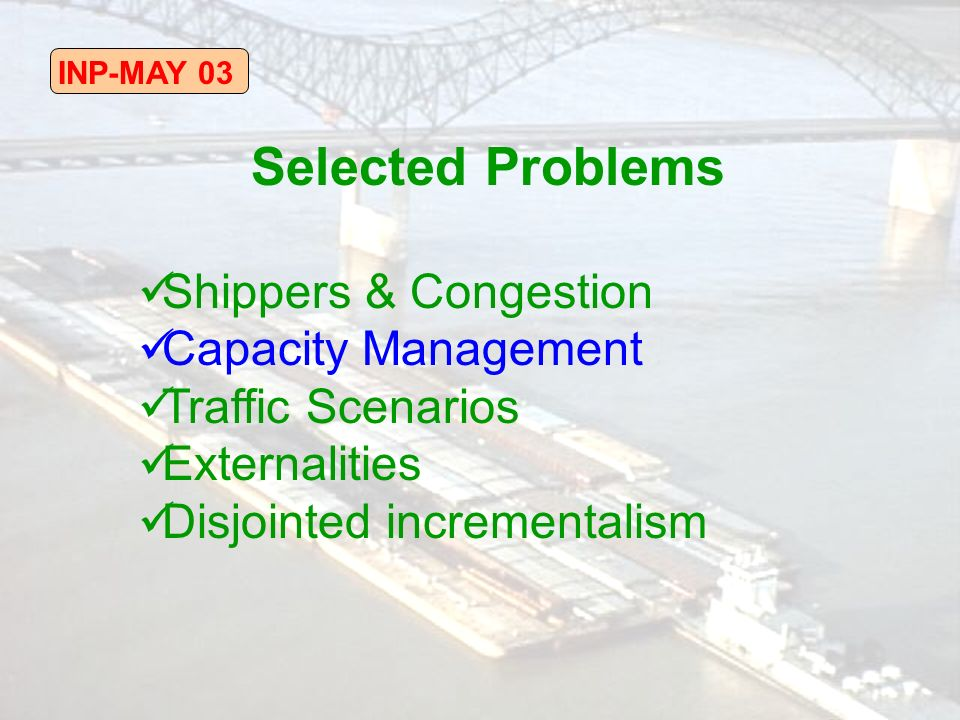 INP-MAY 03 Selected Problems Shippers & Congestion Capacity Management Traffic Scenarios Externalities Disjointed incrementalism