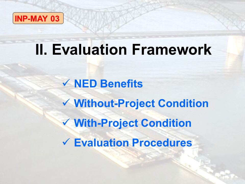 INP-MAY 03 NED Benefits Without-Project Condition With-Project Condition Evaluation Procedures II.