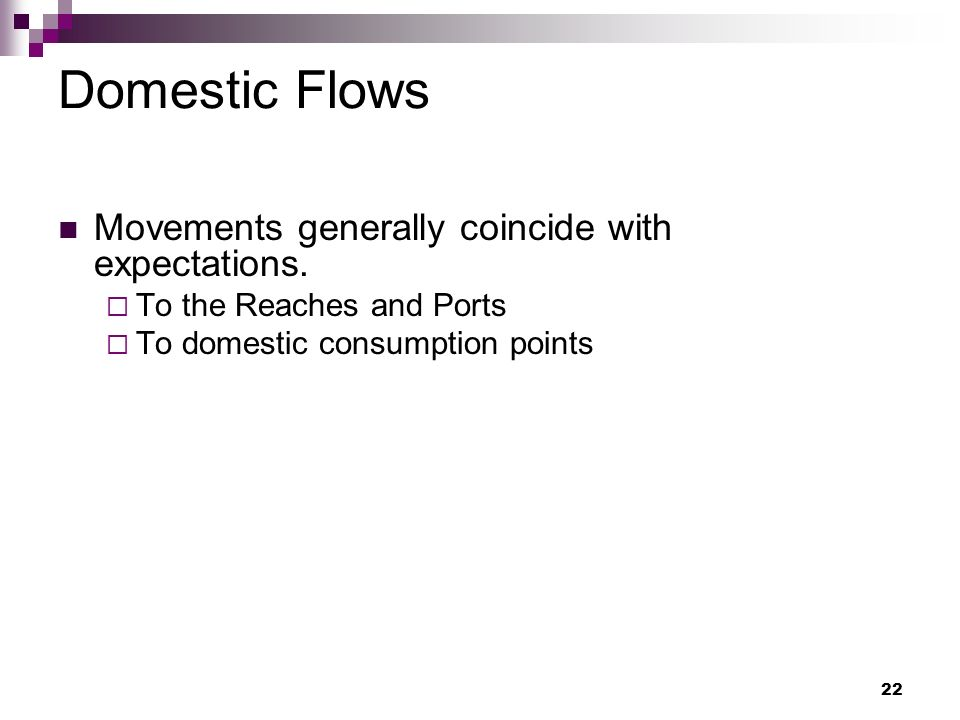 22 Domestic Flows Movements generally coincide with expectations.