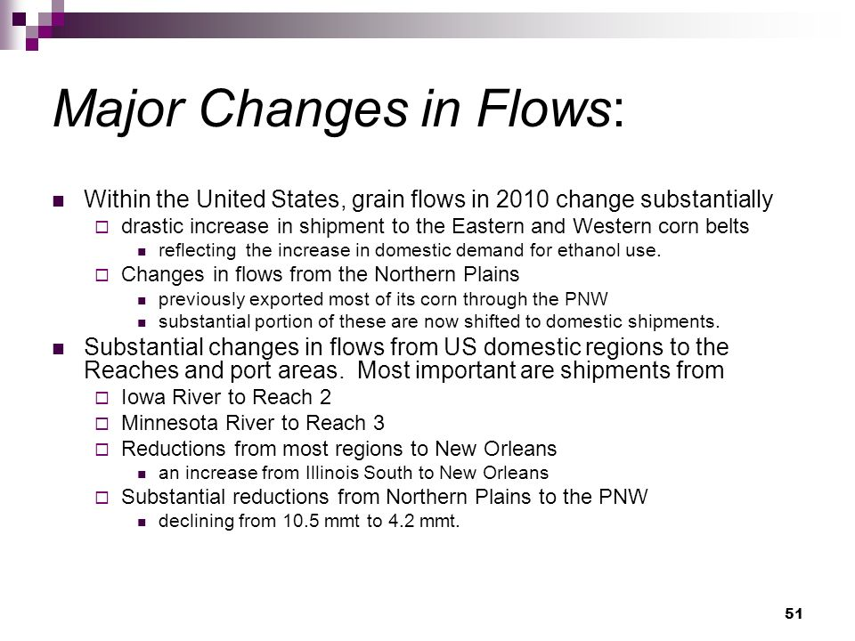 51 Major Changes in Flows: Within the United States, grain flows in 2010 change substantially drastic increase in shipment to the Eastern and Western corn belts reflecting the increase in domestic demand for ethanol use.