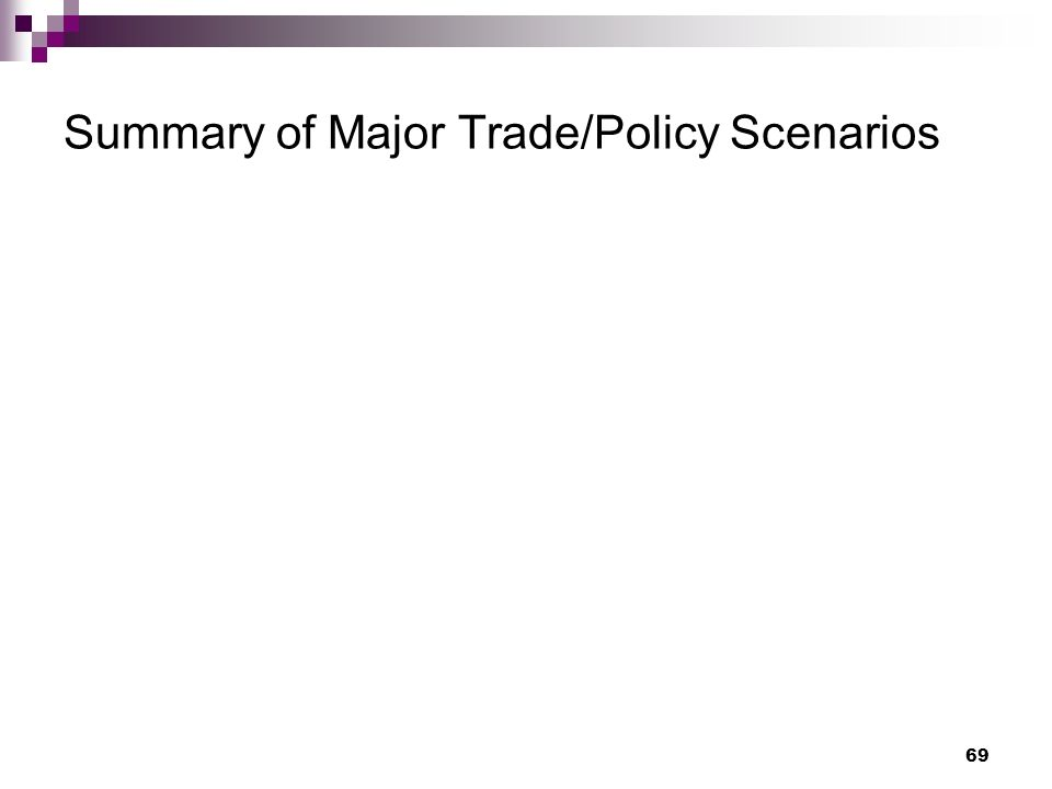 69 Summary of Major Trade/Policy Scenarios